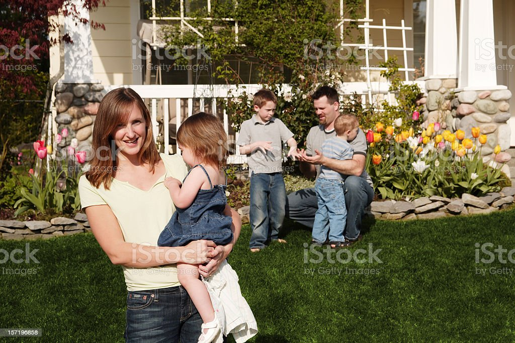 Happy family of five royalty-free stock photo
