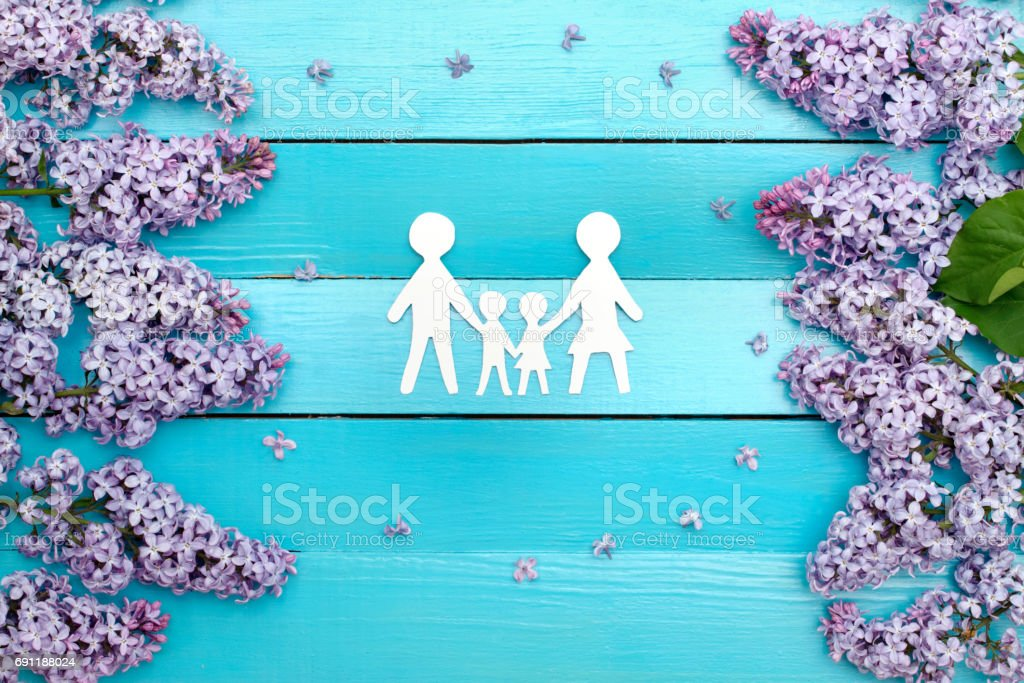 happy family of four people stock photo