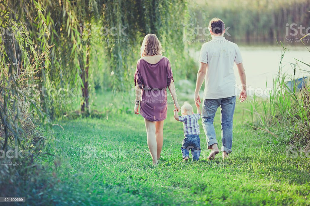 Happy Family of Three People stock photo