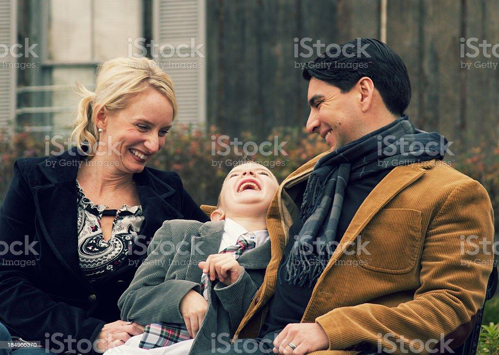 Happy Family of Three stock photo