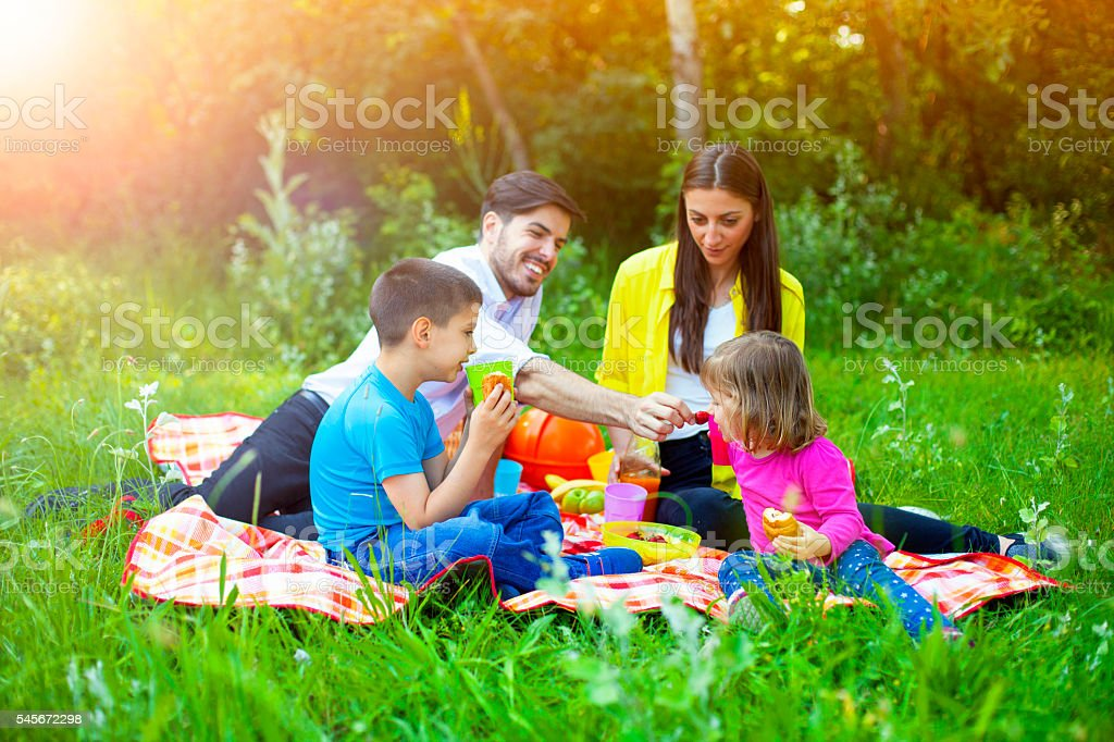 Happy family on a picnic in the park stock photo