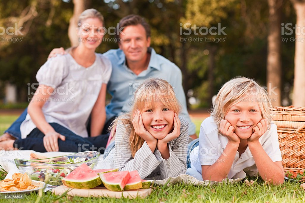 Happy family on a picnic royalty-free stock photo