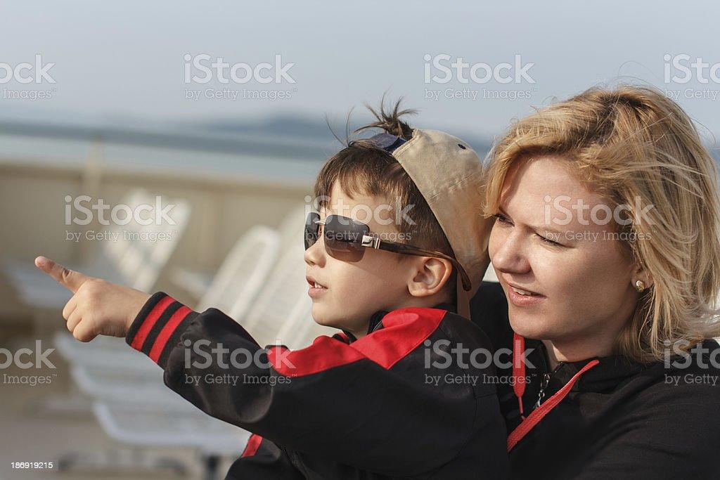 Happy family on cruise ship royalty-free stock photo