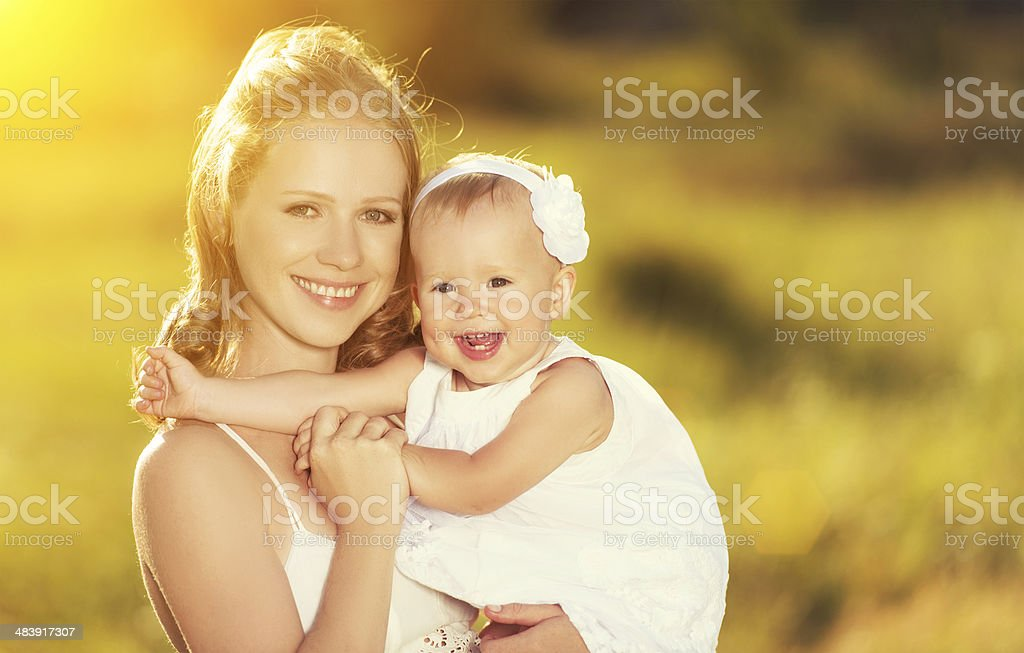 happy family on nature mother and baby daughter royalty-free stock photo