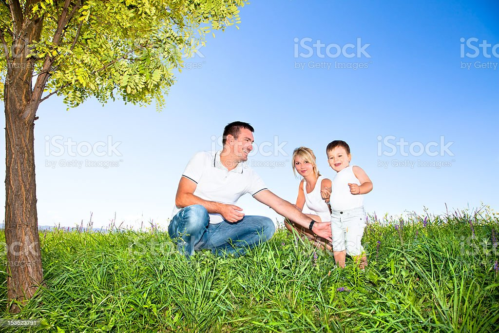 Happy family on picnic in park royalty-free stock photo