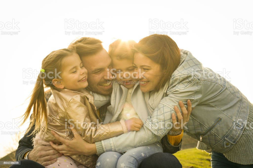 Happy family outdoor. stock photo