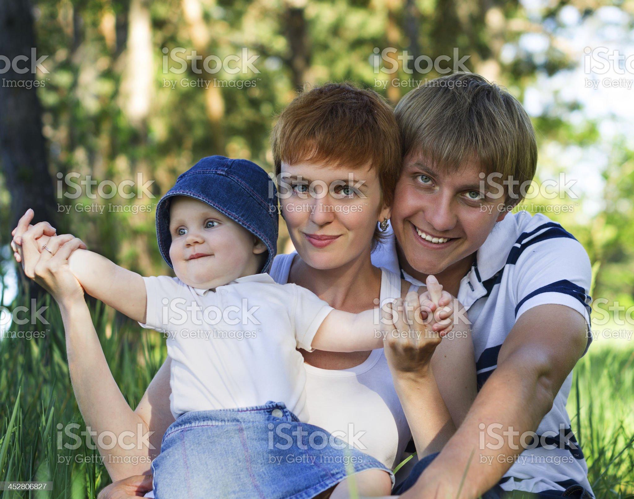 Happy family outdoors royalty-free stock photo