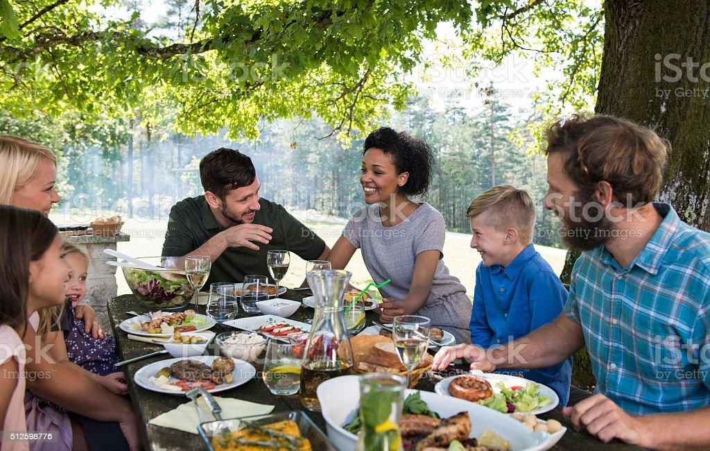 Happy Family Picnic Party stock photo