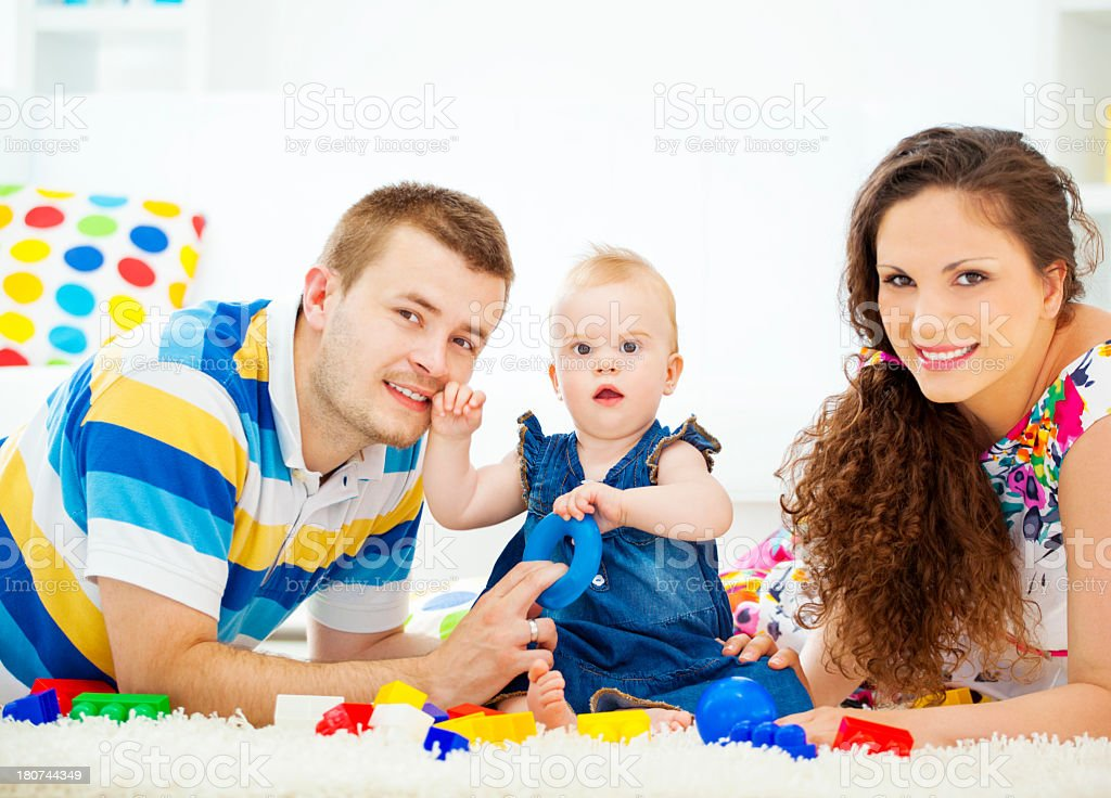 Happy Family Playing At Home. royalty-free stock photo