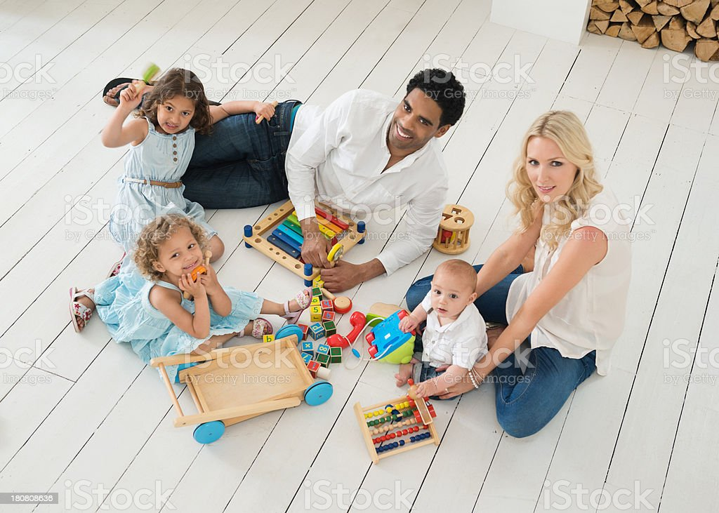 Happy Family Playing Together At Home royalty-free stock photo