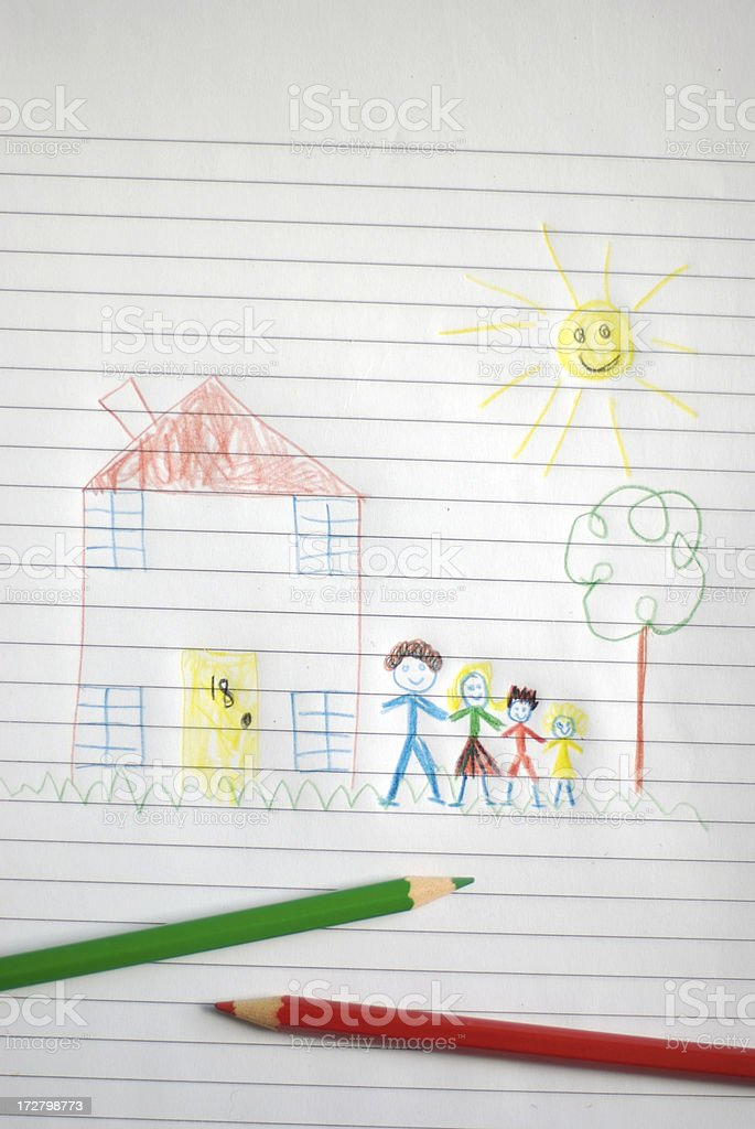 Happy Family Portrait Child Drawing with Colored Pencils royalty-free stock photo