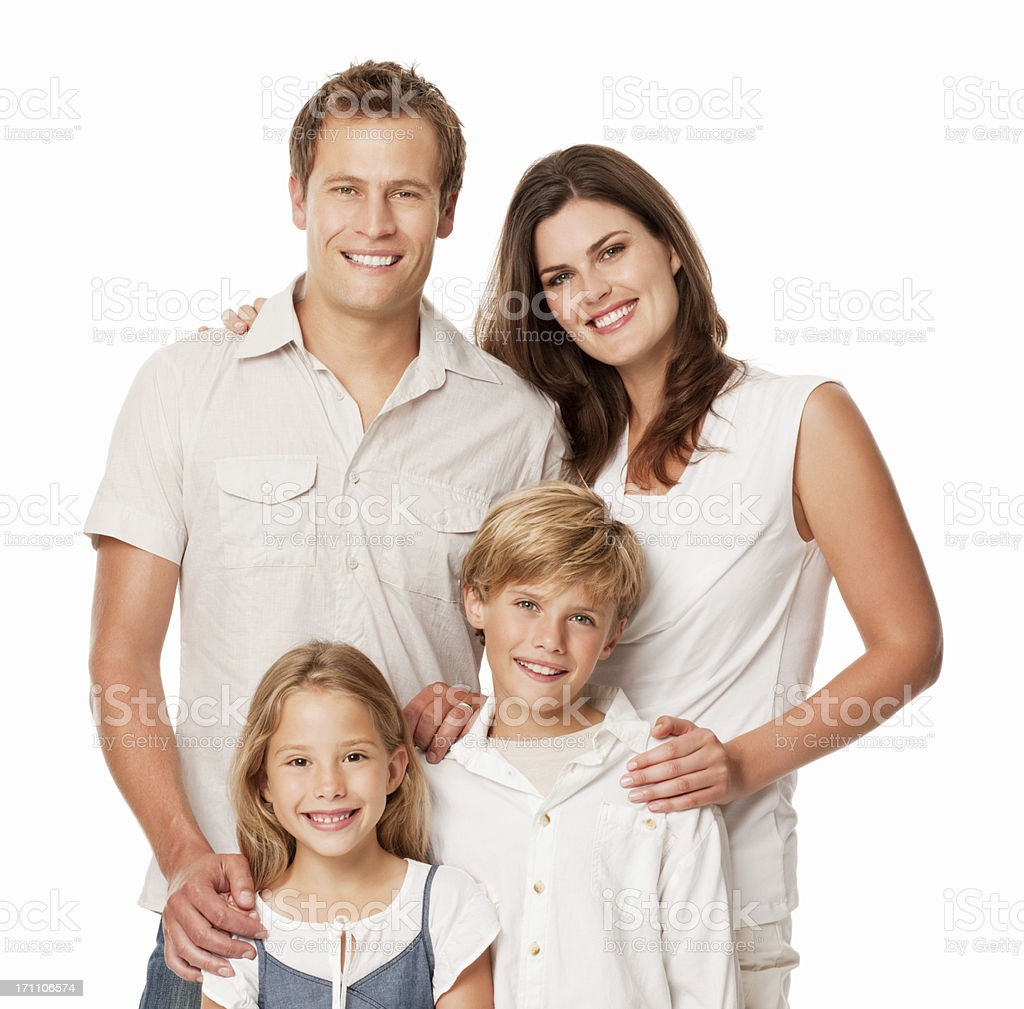 Happy Family Portrait - Isolated stock photo