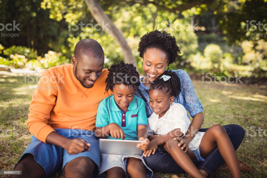 Happy family posing together stock photo