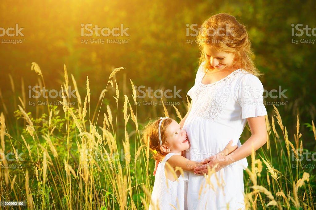 Glückliche Familie Schwangere Mutter Und Tochter Kleinen Kind In