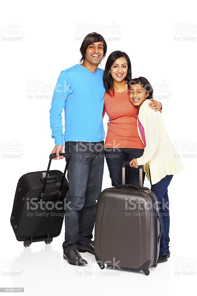 Happy family prepared to go traveling royalty-free stock photo