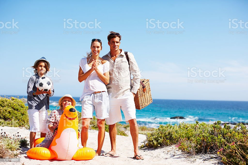 Happy family ready for fun in sun royalty-free stock photo