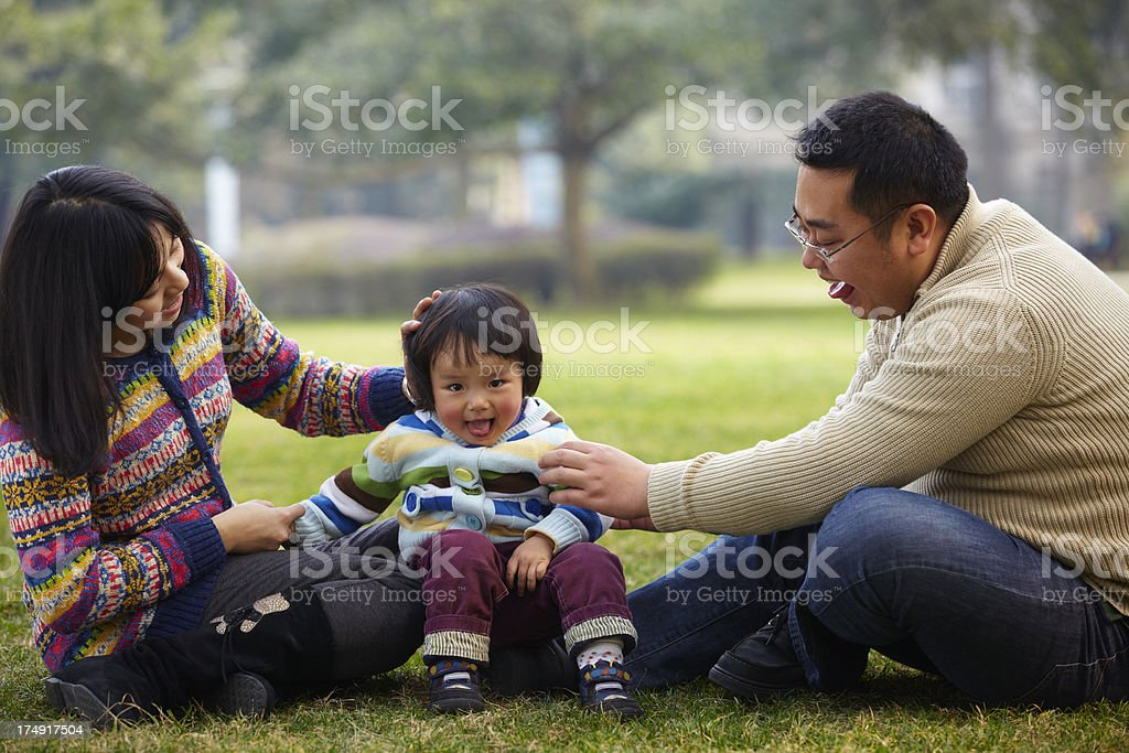 happy family relax in the park royalty-free stock photo
