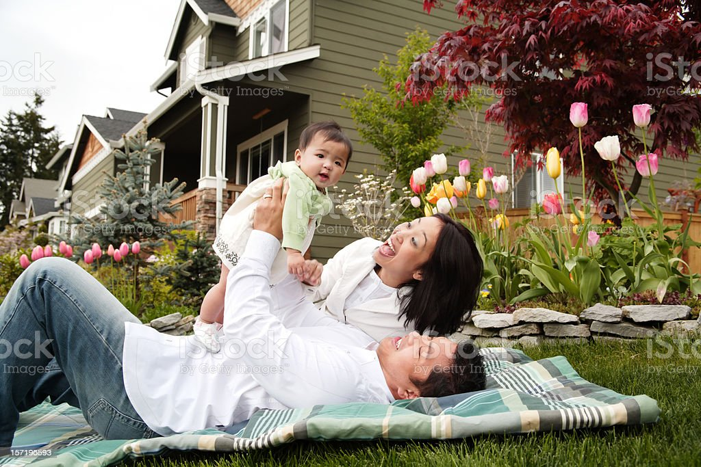 Happy Family Relaxing at Home royalty-free stock photo