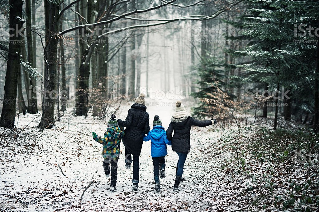 Happy family running in beautiful winter forest stock photo