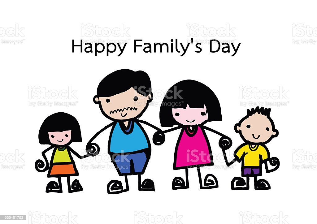 Happy family 's day  father, mother, son , girl idea design stock photo
