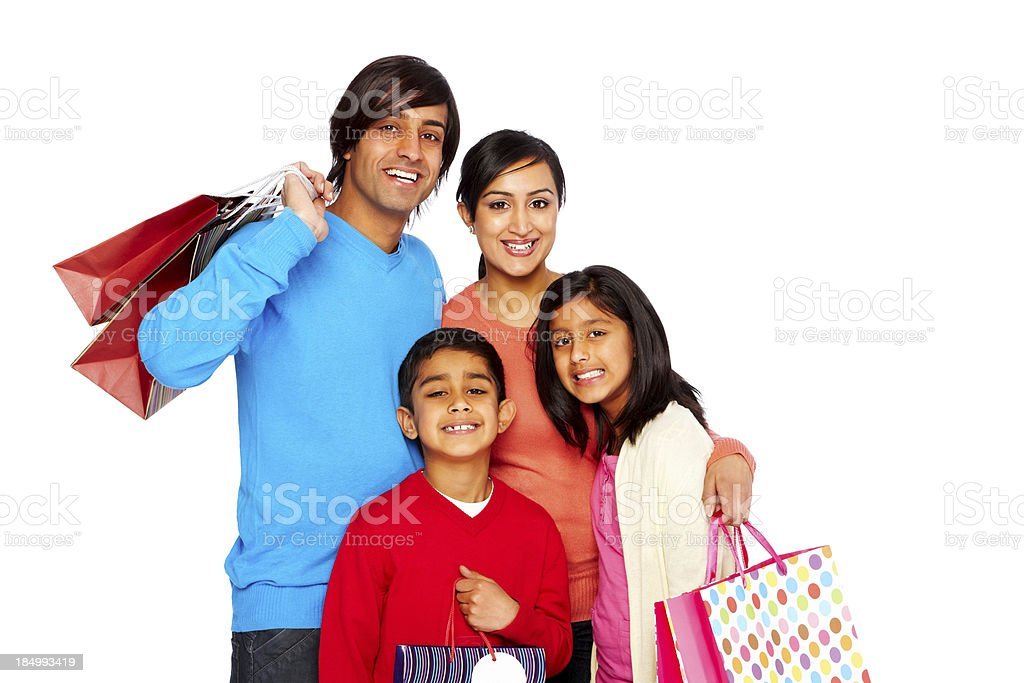 Happy family shopping isolated on white royalty-free stock photo