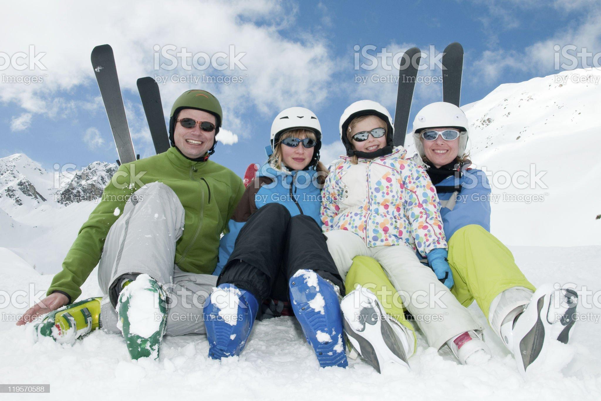 Happy family ski team royalty-free stock photo