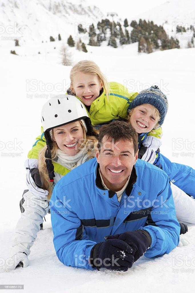 Happy Family skiing outdoors royalty-free stock photo