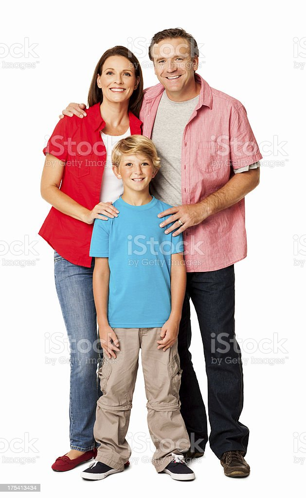Happy Family Smiling Together - Isolated stock photo
