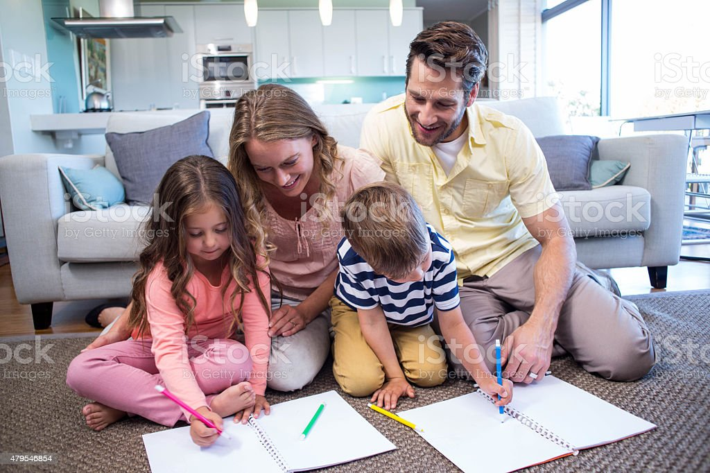 Happy family spending time together stock photo