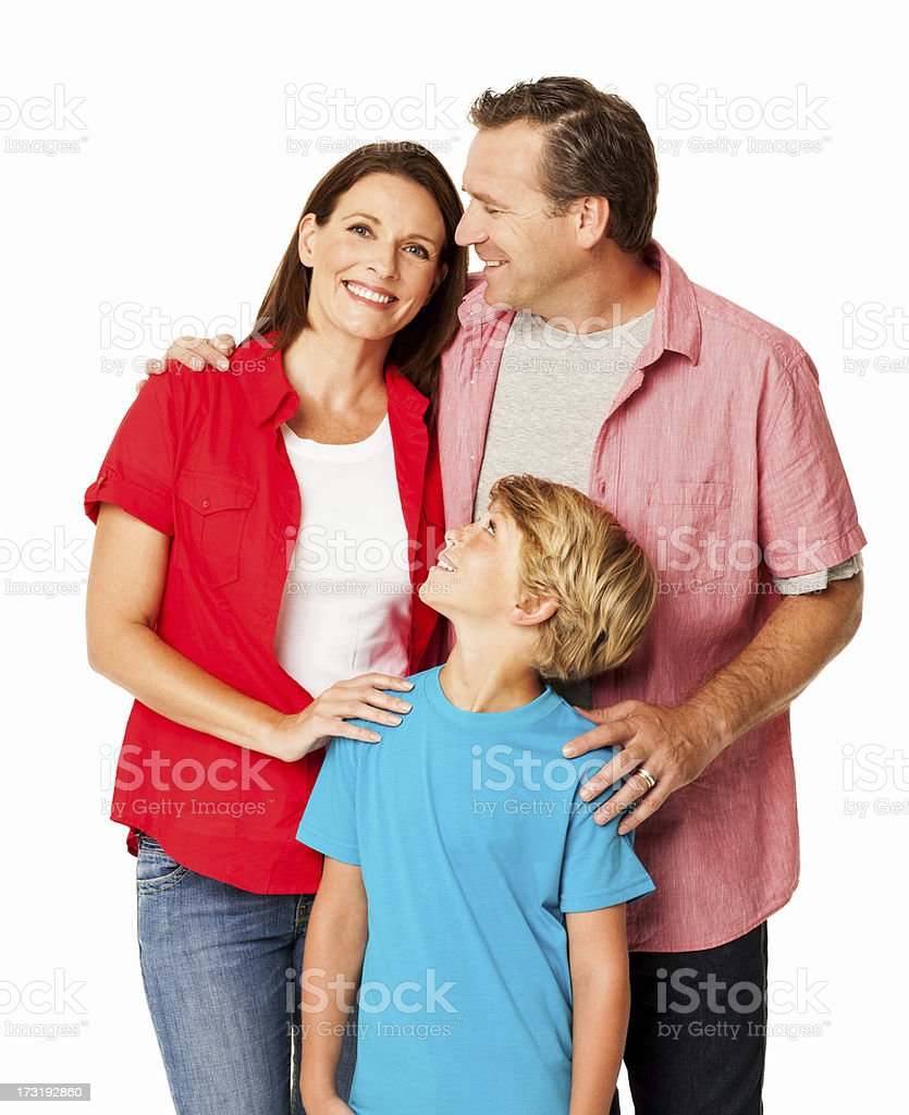 Happy Family Standing Together - Isolated royalty-free stock photo