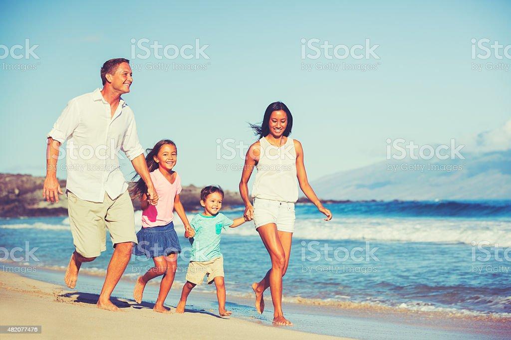 Happy Family Together Having Fun stock photo