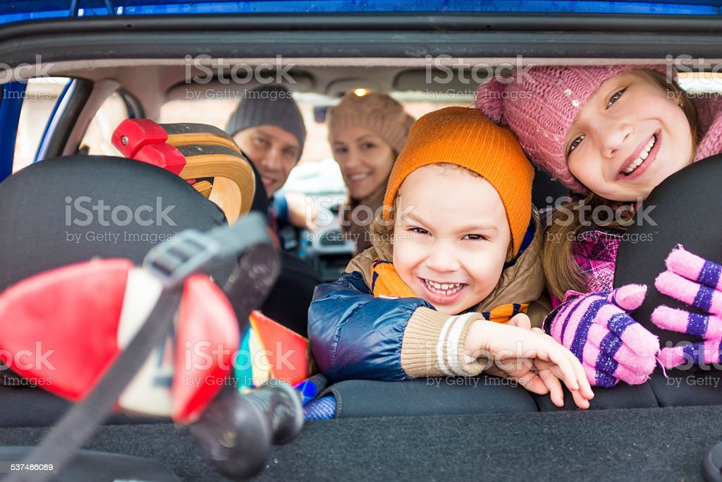Happy family travelling stock photo