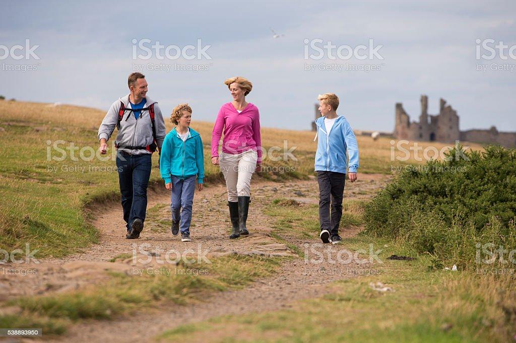 Happy Family Walk stock photo