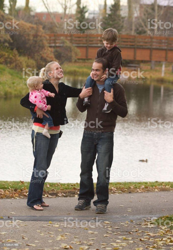 Happy Family Walking royalty-free stock photo