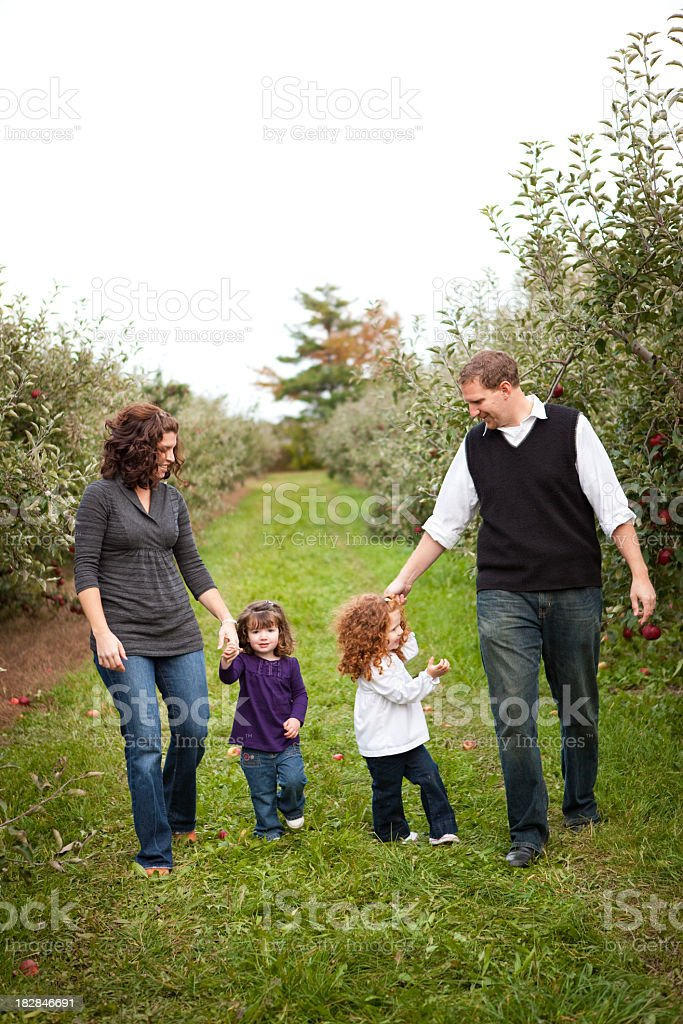 Happy Family Walking Through Apple Orchard in Autumn royalty-free stock photo