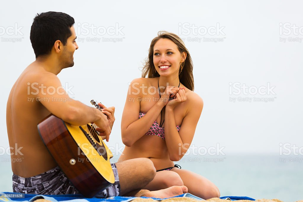 Happy family with a guitar stock photo