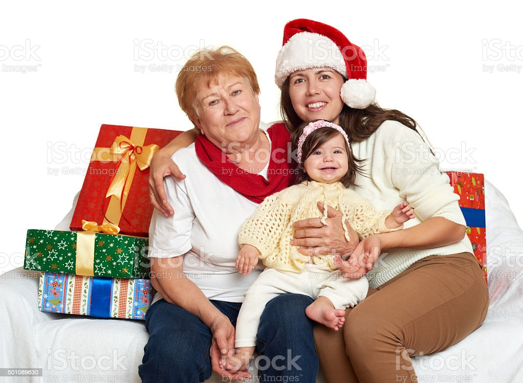 happy family with box gift, woman with child and elderly stock photo