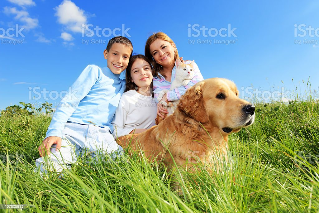 Happy family with cat and dog. royalty-free stock photo