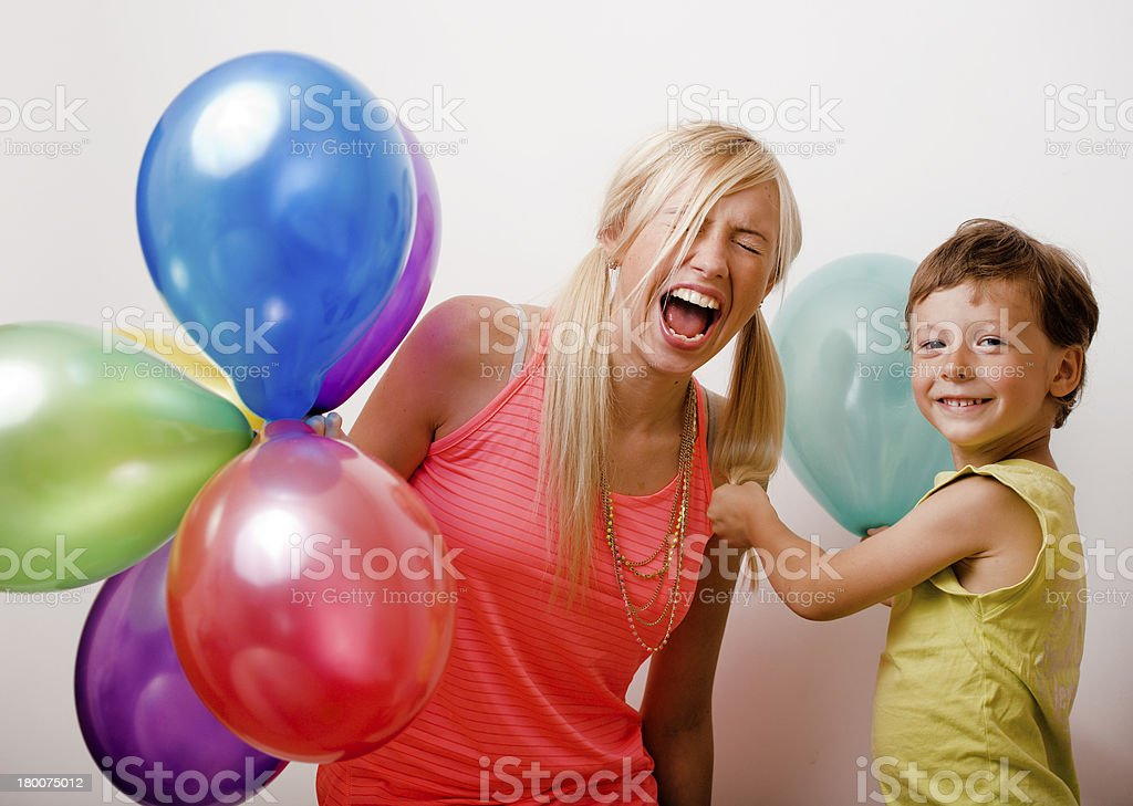 happy family with color balloons royalty-free stock photo