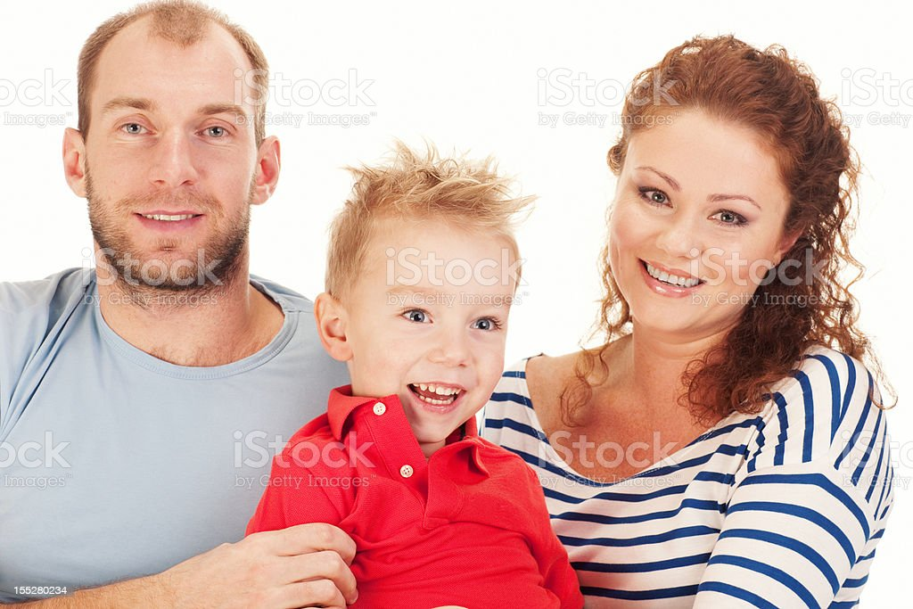 Happy Family with one child on white background royalty-free stock photo
