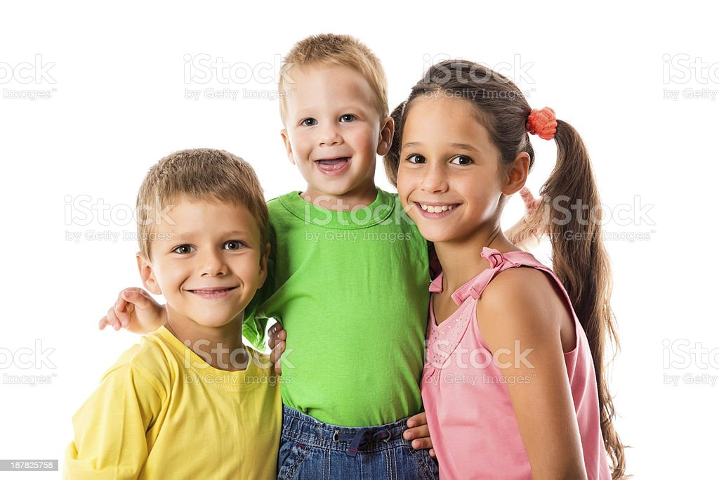 Happy family with three kids stock photo