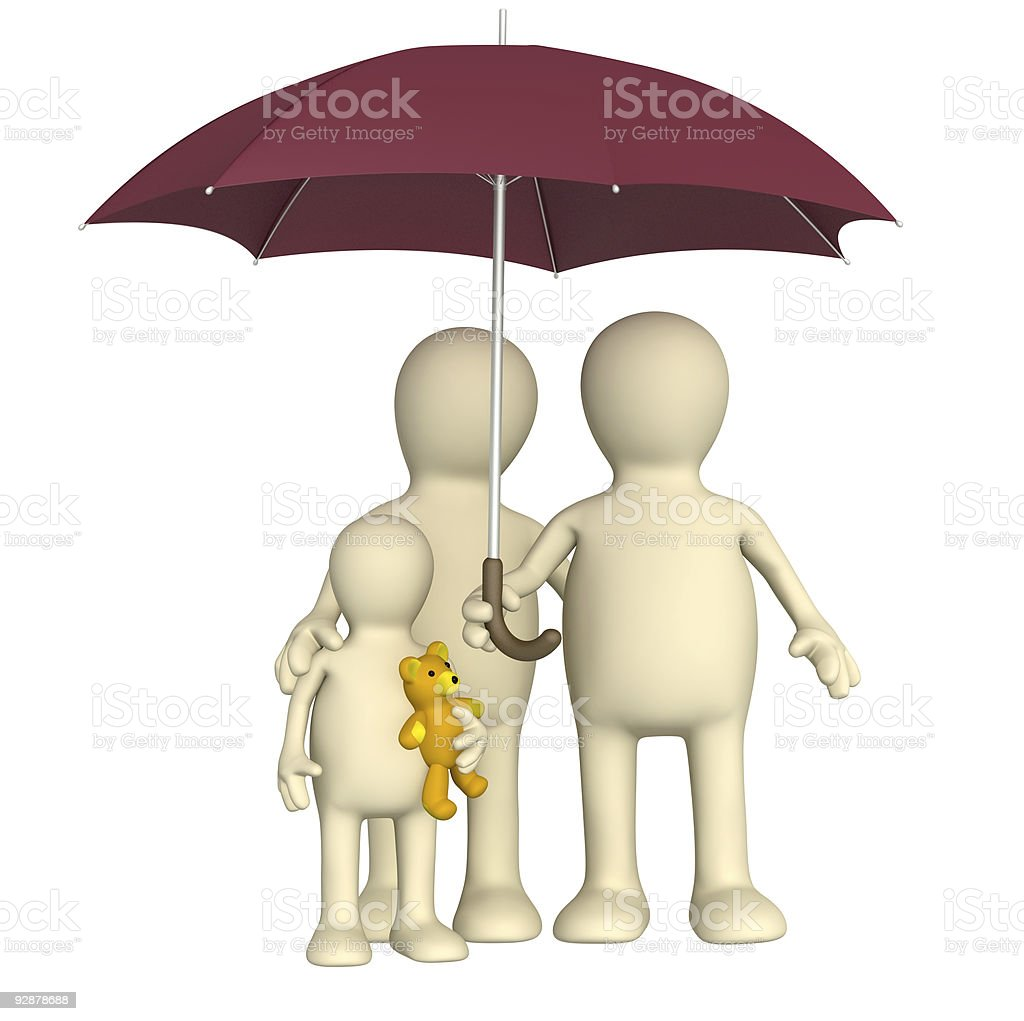 Happy family with umbrella royalty-free stock photo
