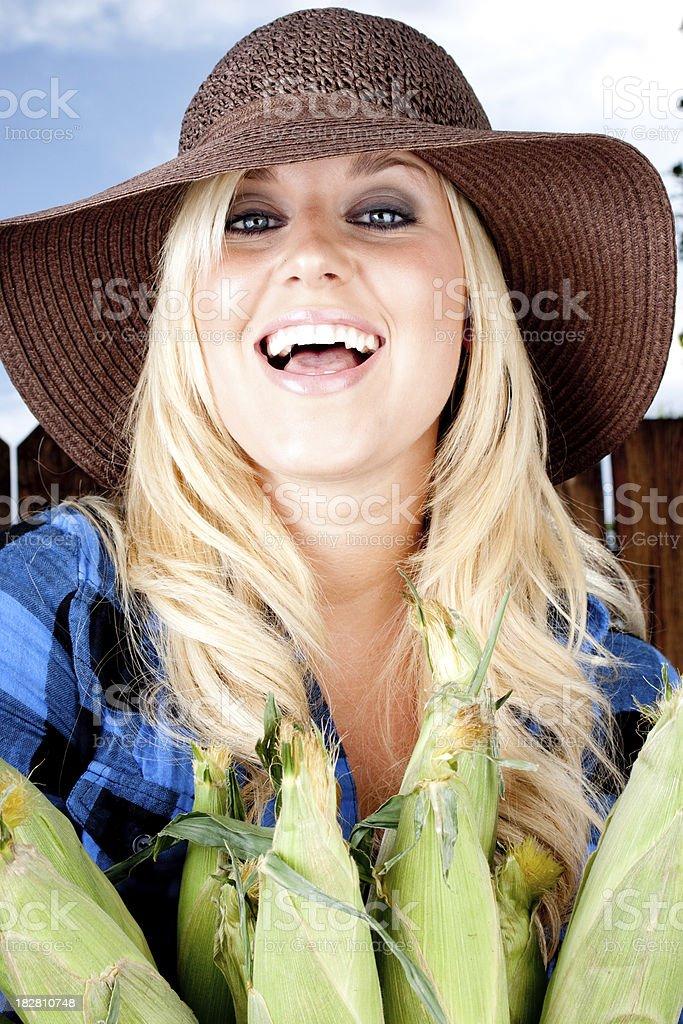 Happy farm girl royalty-free stock photo