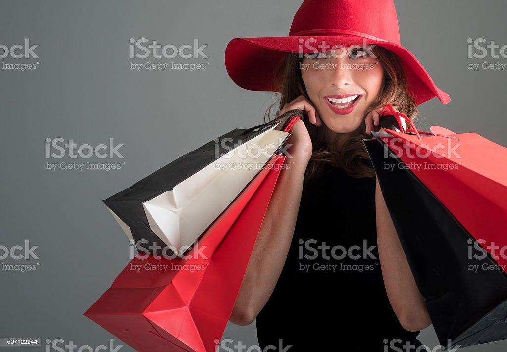 Happy fashion woman shopping stock photo