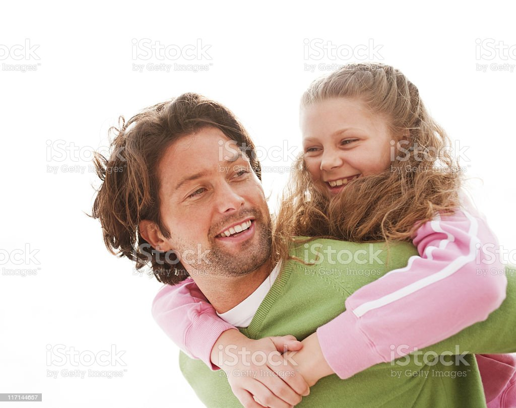 Happy Father and Daughter Outdoors stock photo