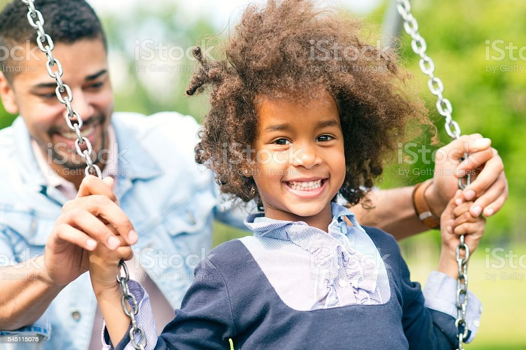 Happy father and daughter. stock photo