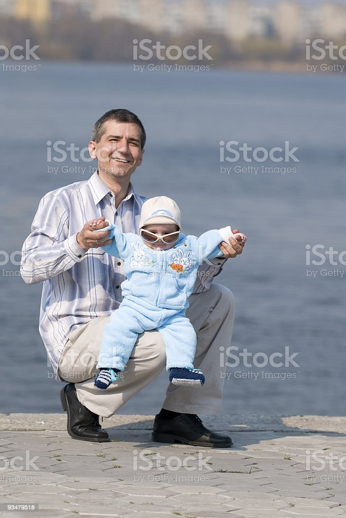 happy father and his little son stock photo