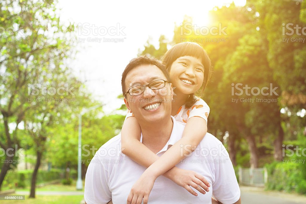 happy Father and little girl with sunset background stock photo