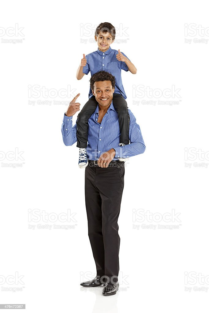 Happy father and son on white background royalty-free stock photo