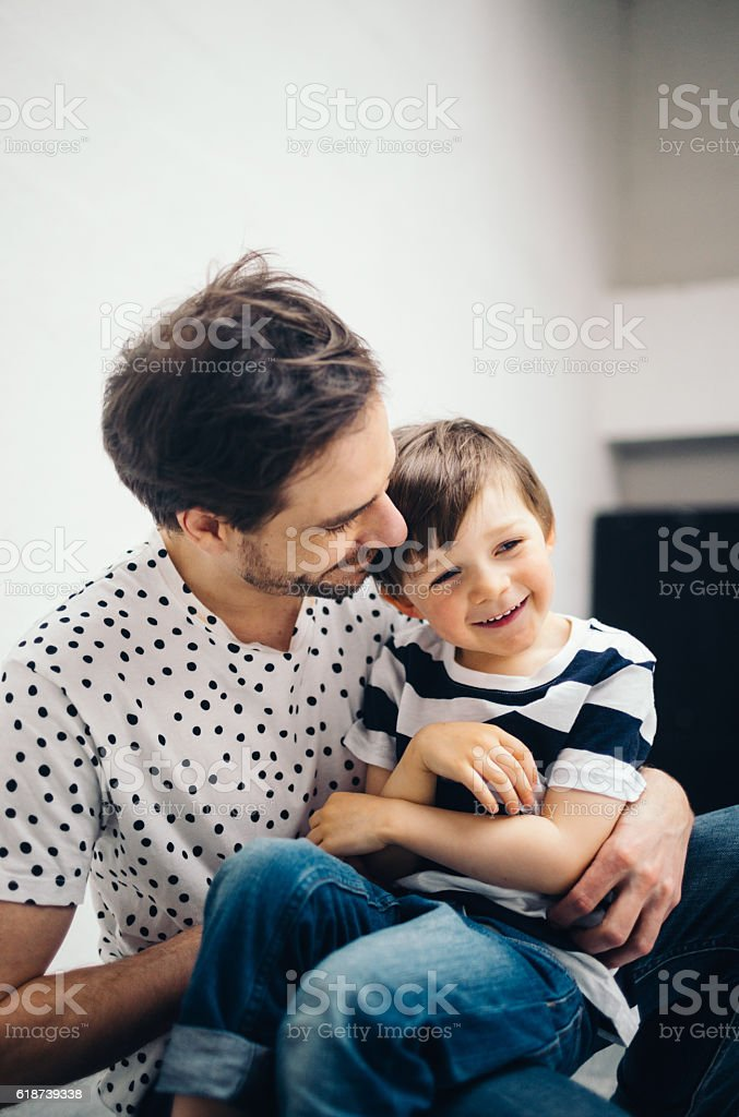 Happy Father and Son Together stock photo